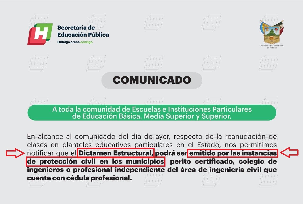 Dictamen estructural – Reanudación de clases – Actopan Hidalgo
